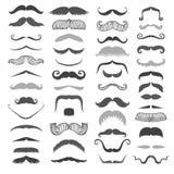 Σκιαγραφιών το διανυσματικό μαύρο άσπρο mustache σύμβολο κουρέων και κυρίων γενειάδων συλλογής τρίχας hipster σγουρό διαμορφώνει  Στοκ εικόνα με δικαίωμα ελεύθερης χρήσης