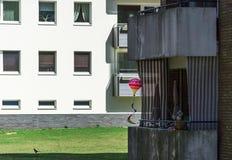 Σκιερή σκοτεινή τακτοποίηση με τα terraced σπίτια σε ένα προάστιο, με ένα φωτεινό ζωηρόχρωμο μπαλόνι παιχνιδιών σε ένα άσχημο βρώ Στοκ φωτογραφίες με δικαίωμα ελεύθερης χρήσης