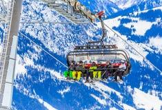 σκι ανελκυστήρων Χιονοδρομικό κέντρο Brixen im Thalef Τύρολο Στοκ Φωτογραφία