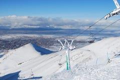 σκι θερέτρου ανελκυστήρων εδρών Στοκ Εικόνες