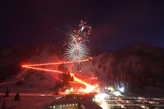 σκι θερέτρου πυροτεχνη&mu Στοκ φωτογραφία με δικαίωμα ελεύθερης χρήσης