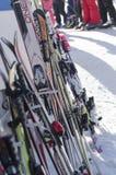Σκι που ομαδοποιούνται σχετικά με ένα ράφι Στοκ φωτογραφία με δικαίωμα ελεύθερης χρήσης