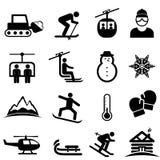 Σκι, χειμερινός αθλητισμός και εικονίδια χιονιού Στοκ Εικόνα