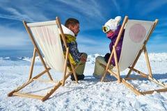 Σκι Apres στα βουνά Στοκ Εικόνες