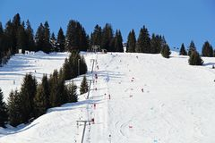Σκι piste στην Αυστρία στοκ εικόνες