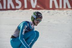 Σκι WC που πετά Vikersund (Νορβηγία) στις 14 Φεβρουαρίου 2015 (από το 2$ο κατά το ήμισυ Στοκ Εικόνες