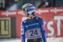 Σκι WC που πετά Vikersund (Νορβηγία) στις 14 Φεβρουαρίου 2015 (από το 2$ο κατά το ήμισυ Στοκ Φωτογραφία