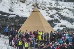 Σκι WC που πετά Vikersund (Νορβηγία) στις 14 Φεβρουαρίου 2015 Στοκ Εικόνες