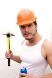 Σκληρός άνδρας σε ένα σκληρό καπέλο Στοκ φωτογραφία με δικαίωμα ελεύθερης χρήσης