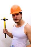Σκληρός άνδρας σε ένα σκληρό καπέλο Στοκ Εικόνες
