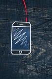 Σκοινί ακουστικών με το τηλέφωνο, κάθετο Στοκ εικόνα με δικαίωμα ελεύθερης χρήσης