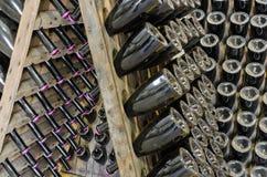 Σκονισμένα μπουκάλια με το λαμπιρίζοντας κρασί brut στο ξύλινο ράφι Στοκ Φωτογραφία
