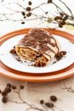 Σκορπισμένη πίτα ξυμένη σοκολάτα της Apple και διακοσμημένος του ξηρού κλάδου Στοκ φωτογραφίες με δικαίωμα ελεύθερης χρήσης