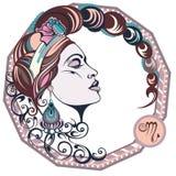 Σκορπιός υπογράφει zodiac Διανυσματική απεικόνιση του κοριτσιού Στοκ εικόνα με δικαίωμα ελεύθερης χρήσης