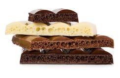 Σκοτάδι, γάλα και άσπρη πορώδης σοκολάτα Στοκ Φωτογραφίες
