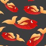 Σκοτεινά άνευ ραφής κόκκινα ψάρια υποβάθρου Στοκ Εικόνα
