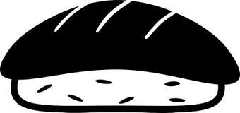 Σκοτεινά ρύζι και ψάρια σουσιών εικονιδίων απεικόνιση αποθεμάτων