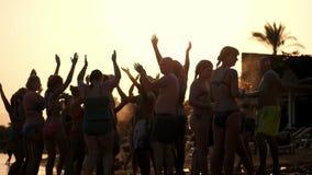 Σκοτεινές σκιαγραφίες των ανθρώπων που χορεύουν, έχοντας τη διασκέδαση στην παραλία, το καλοκαίρι, στο ηλιοβασίλεμα κόμμα παραλιώ απόθεμα βίντεο