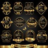 Σκοτεινές χρυσός-πλαισιωμένες ετικέτες - διανυσματικό σύνολο Στοκ Εικόνες