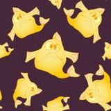 Σκοτεινή άνευ ραφής ανασκόπηση Τα κίτρινα ψάρια Στοκ φωτογραφία με δικαίωμα ελεύθερης χρήσης