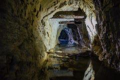 Σκοτεινή ανατριχιαστική βρώμικη πλημμυρισμένη εγκαταλειμμένη σήραγγα ορυχείων στοκ εικόνες