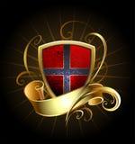Σκοτεινή ασπίδα με τη χρυσή κορδέλλα Στοκ Εικόνες