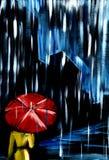 Σκοτεινή βροχή νύχτας Μόνο άτομο αμυδρά κίτρινα ενδύματα κάτω από την κόκκινη ομπρέλα διανυσματική απεικόνιση