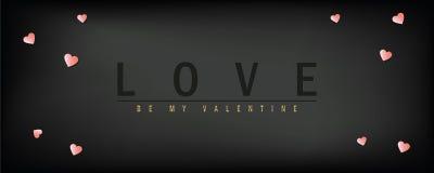 Σκοτεινή ευχετήρια κάρτα ημέρας βαλεντίνων αγάπης με την τυπογραφία και την καρδιά διανυσματική απεικόνιση