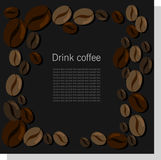 Σκοτεινή διανυσματική κάρτα με τα φασόλια καφέ Στοκ Εικόνα
