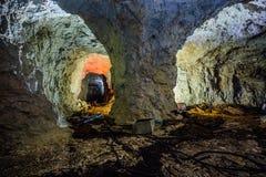 Σκοτεινή και βρώμικη εγκαταλειμμένη σήραγγα ορυχείων ουράνιου στοκ φωτογραφία με δικαίωμα ελεύθερης χρήσης