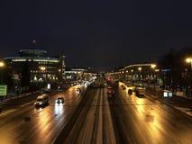 Σκοτεινή νύχτα Prospekt Moskovsky Ρωσία, Άγιος-Πετρούπολη, στις 18 Ιανουαρίου 2017 Στοκ φωτογραφία με δικαίωμα ελεύθερης χρήσης