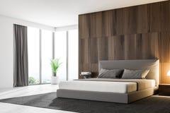 Σκοτεινή ξύλινη κύρια γωνία κρεβατοκάμαρων διανυσματική απεικόνιση