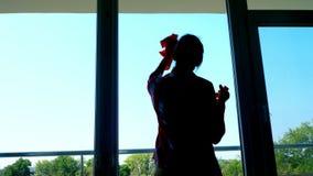 Σκοτεινή περίληψη, μια σκιά μιας γυναίκας στα γάντια, καθαρίζοντας παράθυρο με τον ψεκασμό των καθαρίζοντας προϊόντων, χρησιμοποί απόθεμα βίντεο