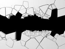 Σκοτεινή ραγισμένη καταστροφή τρύπα στον άσπρο τοίχο πετρών Στοκ Φωτογραφία