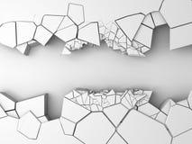 Σκοτεινή ραγισμένη καταστροφή τρύπα στον άσπρο τοίχο πετρών Στοκ φωτογραφία με δικαίωμα ελεύθερης χρήσης