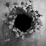 Σκοτεινή ραγισμένη σπασμένη τρύπα στο συμπαγή τοίχο Ανασκόπηση Grunge Στοκ Εικόνα