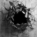 Σκοτεινή ραγισμένη σπασμένη τρύπα στο συμπαγή τοίχο Ανασκόπηση Grunge Στοκ Φωτογραφία