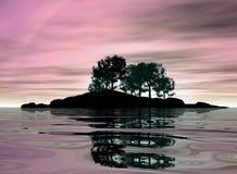 σκοτεινή σκιαγραφία νησ&iota Στοκ εικόνες με δικαίωμα ελεύθερης χρήσης