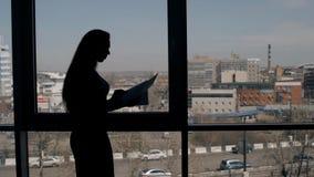 Σκοτεινή σκιαγραφία της νέας επιχειρηματία που στέκεται με τα έγγραφα στο σύγχρονο γραφείο απόθεμα βίντεο