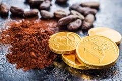 Σκοτεινή σκόνη κακάου, φασόλια κακάου και νομίσματα σοκολάτας Στοκ φωτογραφία με δικαίωμα ελεύθερης χρήσης