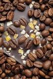 Σκοτεινή σοκολάτα με τα σιτάρια και τα φρούτα καφέ Προετοιμασμένος για την ημέρα παγκόσμιας σοκολάτας στοκ φωτογραφία