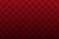 σκοτεινή ταπετσαρία ασπίδων εμβλημάτων κόκκινη άνευ ραφής Στοκ Εικόνες