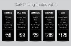 Σκοτεινοί & ασημένιοι πίνακες τιμολόγησης - σύνολο πέντε προτύπων εμβλημάτων τιμών κατάλληλων για τον Ιστό και τα ε-καταστήματα Στοκ εικόνα με δικαίωμα ελεύθερης χρήσης
