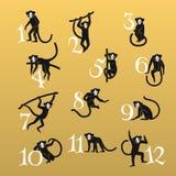 Σκοτεινοί πίθηκοι καθορισμένοι Στοκ Εικόνα