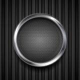 Σκοτεινός γκρίζος διατρυπημένος κύκλος στο μαύρο ριγωτό υπόβαθρο ελεύθερη απεικόνιση δικαιώματος