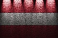 Σκοτεινός τοίχος πέντε υπόβαθρο φω'των με το συνδυασμό της σημαίας της Αυστρίας Στοκ Εικόνα