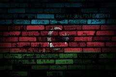Σκοτεινός τουβλότοιχος backround ή σύσταση με το συνδυασμό της σημαίας του Αζερμπαϊτζάν Στοκ εικόνα με δικαίωμα ελεύθερης χρήσης