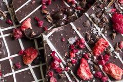 Σκοτεινός φλοιός σοκολάτας με ξηρό - φρούτα και καρύδια στοκ εικόνα