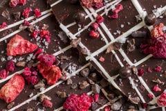 Σκοτεινός φλοιός σοκολάτας με τους ξηρούς καρπούς και τα καρύδια στοκ φωτογραφίες