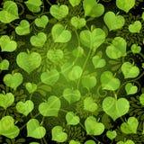 Σκοτεινό άνευ ραφής σχέδιο με τα πράσινα φύλλα απεικόνιση αποθεμάτων